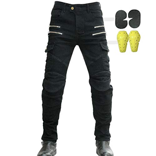 CBBI-WCCI Herren Motorradhose Motorrad Jeans Biker Trousers Motorrad Hose Fahrrad Riding Schutzhose,4 x Schutz ausrüstung (Schwarz, 32W / 32L)