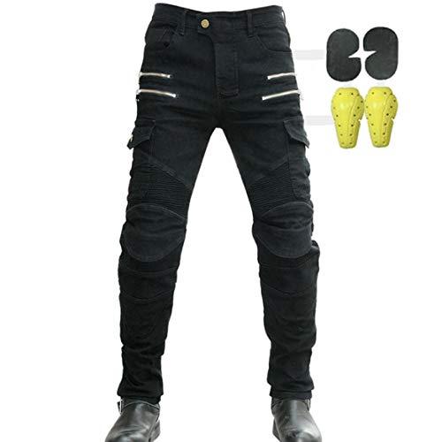 CBBI-WCCI Uomo Pantaloni da Moto Biker Jeans Protezione Motorcycle Pantaloni Rinforzato Slim Fit Armature Pants, 4 x Pad di Protezione (Nero, 36W / 32L)