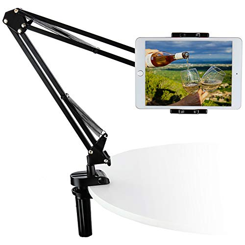 """Tablet Holder for iPad & Phone, woleyi Universal Gooseneck Tablet Stand for Bed Desk, Flexible Long Steel Arm Clamp for 4~13"""" device, eg iPad Pro 12.5 10.5 9.7 Pad Air Mini Samsung Tab, iPhone, Huawei"""