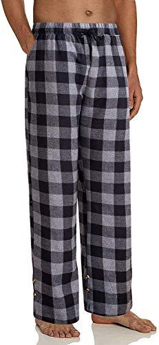 Pantalones de Pijama a Cuadros de algodón para Hombre PJ Bottoms Cintura...