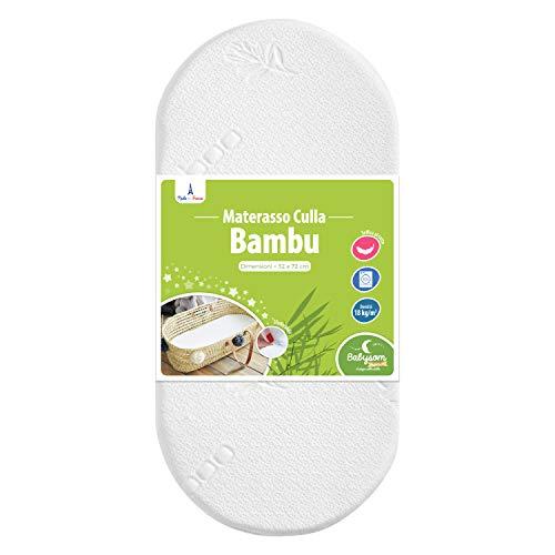 Babysom - Materasso Culla/Carrozzina Bambù Naturale per Neonato - 72x32cm - Altezza 4cm - Sfoderabile - Traspirante - Antiacaro - Garanzia 2 anni