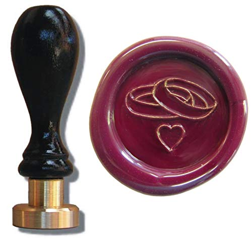 Siegel Stempel Petschaft Eheringe Herz 24 mm für Hochzeit