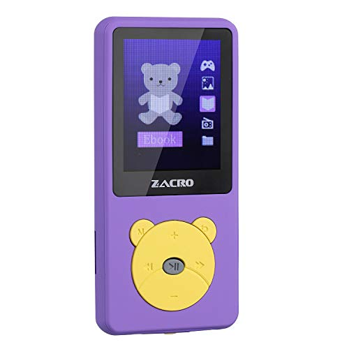 Zacro MP3 Player Cartoon MP3 Birthday Gift Music Player for Kids, MP3 Player with Radio, Kids Games, Voice Recorder -Purple