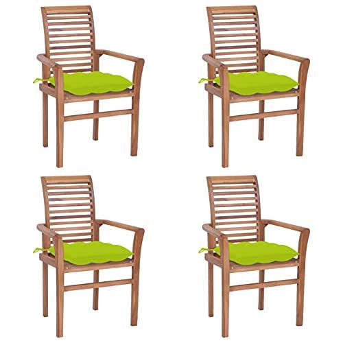 Tidyard 4X Gartenstühle mit Hellgrünen Kissen Gartensessel Balkonstuhl Terrassenstuhl Holzstuhl mit Lattenrost Gartenmöbel Terrassenmöbel Teak Massiv