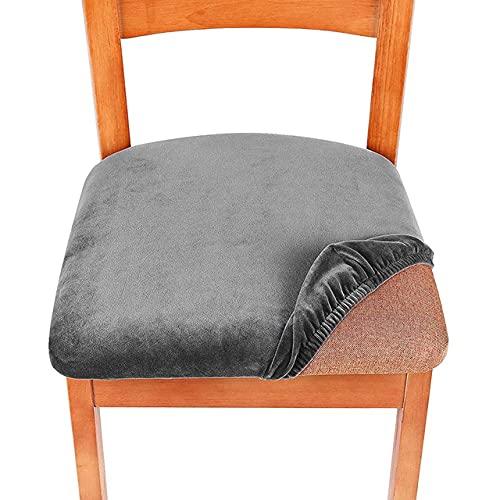 Fundas de Asiento elásticas de Spandex para sillas de Comedor, Fundas de Asiento Simples para el hogar, Fundas de Asiento Simples para sillas, Gris, 1pcs