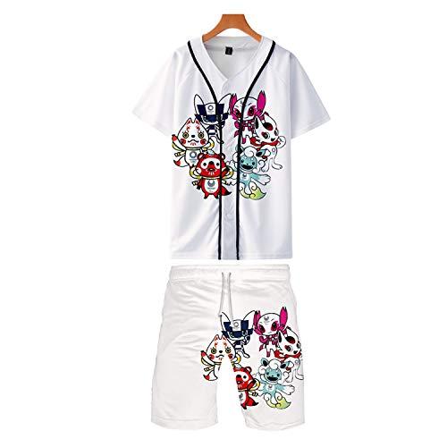 RENDONG Japan 2020 Olympia Emblem Kurzarm Sportlicher Stil Short Sleeve Athletisch Schnell Trocknend T-Shirts Shorts Baseball Uniform,A,3XL