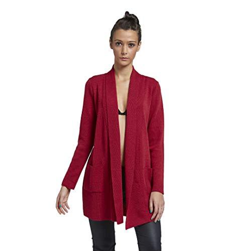 BRUNELLA GORI Waterfall Cardigan mit Seitentaschen - 100% Extrafine Merino RED, XL
