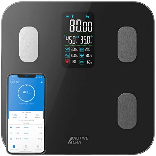 Active Era Básculas de Baño Inteligentes con Pantalla LED Grande - Básculas Digitales de Peso Corporal Bluetooth con 16 Medidas, índice de Masa Corporal (IMC), Aplicación Gratuita e