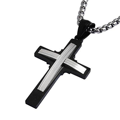 DonDon® Herren Halskette mit Curved Double Kreuz-Anhänger zweifarbig Edelstahl 52 cm silberfarben und Samtbeutel