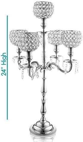 5 arm crystal candelabra _image3