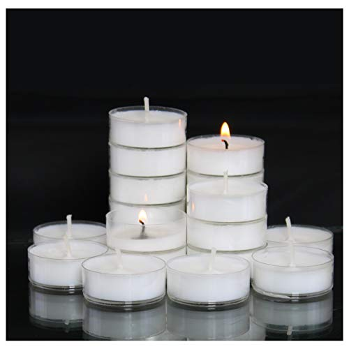 Candle Universe Tealight Candles 4 Hour Clear Cup Unscented Tealights (50 Pack)