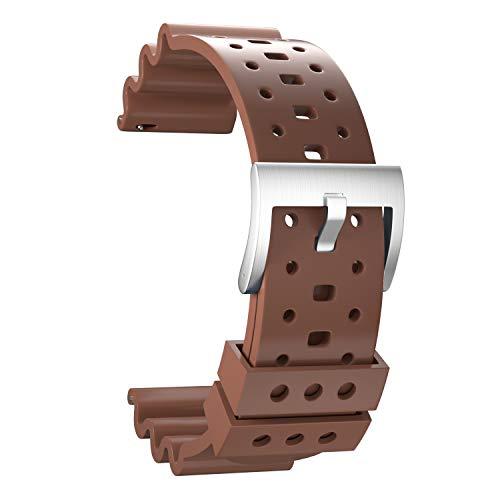 Ullchro Caucho Fluorado Correa Reloj Recambios Correa Relojes Caucho Suave Flexible Hombre Mujer - 20/22/24mm Correa Reloj con Hebilla de Acero Inoxidable (24mm, Brown)