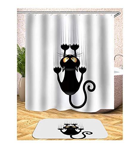 Knbob Duschvorhang Hipster Comic-Muster Stil 4 Shower Curtain 165X180CM mit Duschvorhangringen Wohnaccessoires