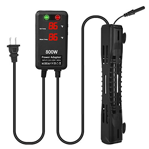 SZELAM Aquarium Heater, Upgraded Fish Tank Heater 800W with External Controller and Split Temperature Probe, Auto Shut Off Without Water, Suitable for Betta Fish Turtle Tank