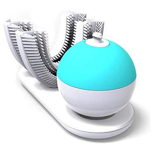 KJRJS Cepillo de dientes eléctrico, en forma de U 360 ° completa blanqueamiento dental acelerador automáticamente for hacer los dientes Pasta de dientes en espuma resistente al agua IPX7 Silicona de C