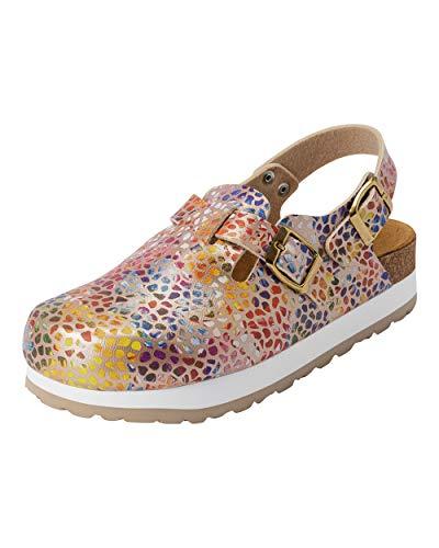 CLINIC DRESS Clog - Clogs Damen bunt Mosaik. Schuhe für Krankenschwestern, Ärzte oder Pflegekräfte Gold/bunt, grafisches Muster, Mosaik 39