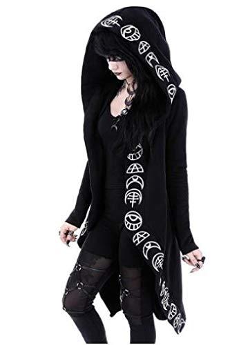 DressUWomen Vintage Sorcellerie Punk imprimé lune T-Chemisier sueur Femme Noir 4XL