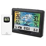 Estación meteorológica inalámbrica digital para interior y exterior, termómetro higrómetro con despertador barómetro, temperatura y humedad con sensor exterior, pantalla de color (B)