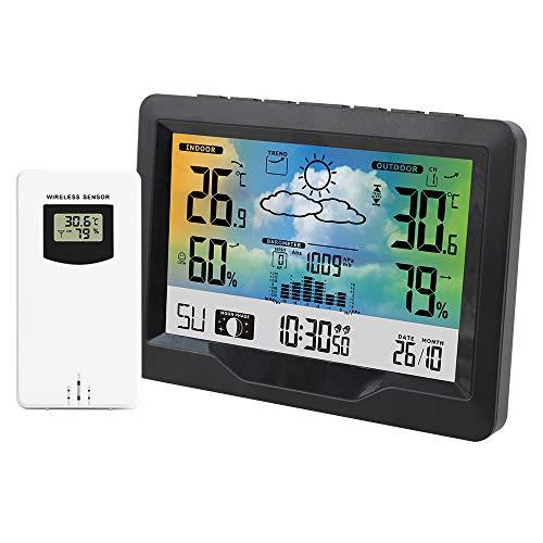 FreeLeben Drahtlose Wetterstation, Elektronischer Snooze Wecker Digitales Thermometer Hygrometer Mit Außensensor, Großer LCD-farbbildschirm/Wettervorhersage/Mondphase/Barometer/3 Kanäle Rf