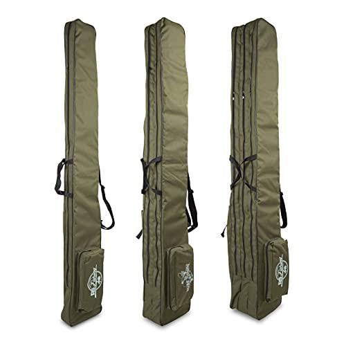 Rawstyle, Bolsa para cañas de pescar, funda para cañas de pescar, mochila para caña de pescar, color verde oliva, muchos tamaños, 1, 2 o 3 cámaras (190, 3 cámaras)