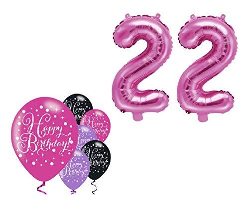 Feste Feiern Party-Deko 22. Geburtstag Schnapszahl 8 Teile Set Zahlenballon Luftballon Folie Zahl 22 Pink Schwarz Lila metallic Dekoration Happy Birthday Jubiläum