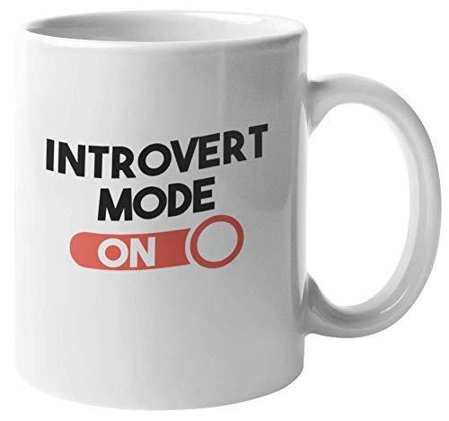 Geeyear Taza de Regalo de Modo introvertido en café y té para Nerd, Friki, Hombres y Mujeres