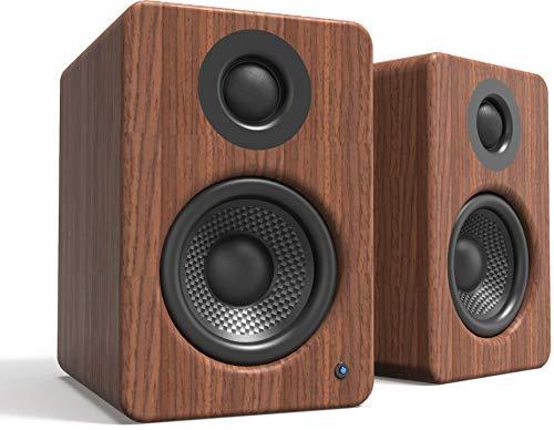 Kanto YU2Walnut 2-Kanal betriebene PC-Lautsprecher, 7,6 cm Composite-Treiber, 1,9 cm Seiden-Hochtöner, Klasse D Verstärker, 100 Watt, integrierter USB-DAC, Subwoofer-Ausgang, 1 Paar