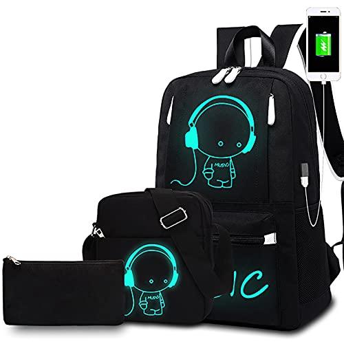 Spaufu Juego de 3 mochilas escolares unisex con puerto USB, bolsa para el hombro y estuche impermeable reflectante, bolsa para portátil para niños y niñas adolescentes, color negro, 3 unidades, M