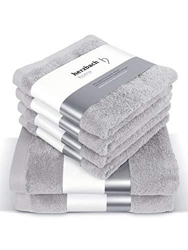 herzbach home Handtuch Set Premium Qualität aus 100% Baumwolle 4 Handtücher 50x100 cm 2 Duschtücher 70 x 140 cm (Silbergrau)