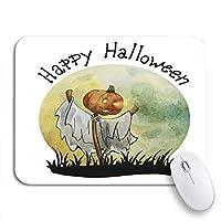 ECOMAOMI 可愛いマウスパッド かわいいハロウィンハッピーパンプキンかかし水彩秋黒漫画ノンスリップラバーバッキングノートパソコン用マウスパッドマウスマット