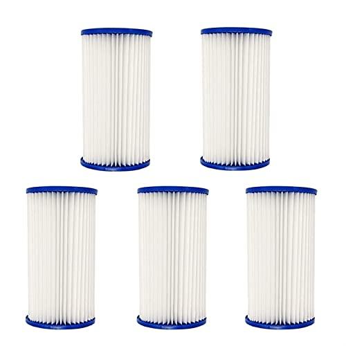 HXiaoF Juego de 5 cartuchos de filtro de piscina para filtro de piscina, repuesto universal para limpieza de piscinas (color: blanco)
