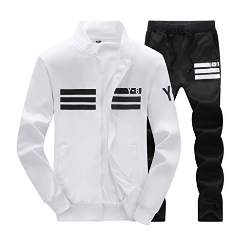 xzbailisha Mens Two Piece Outfit Joggers Long Sleeve Zip-up Jacket Coat & Pant Tracksuit