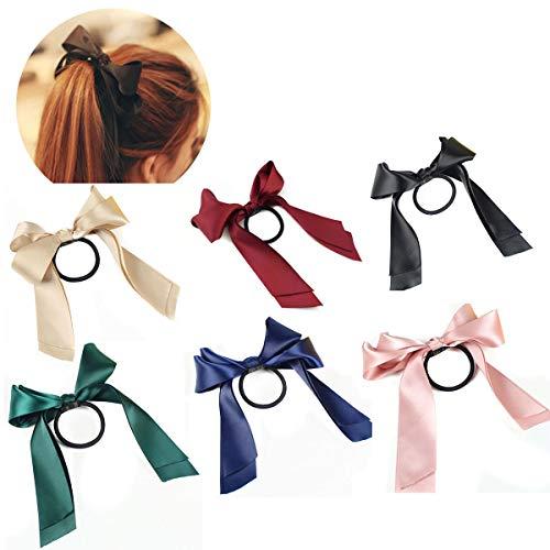 6 PCS Women Lady Satin Ribbon Bow Hair Rope Head Wrap Headbands Elastics Hair Tie Ponytail Holders Hair Accessories Headdress