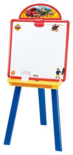 Smoby – 410604 – Brandweerman Sam – kunststof bord – dubbelzijdig – magnetisch/krijt – accessoires inbegrepen