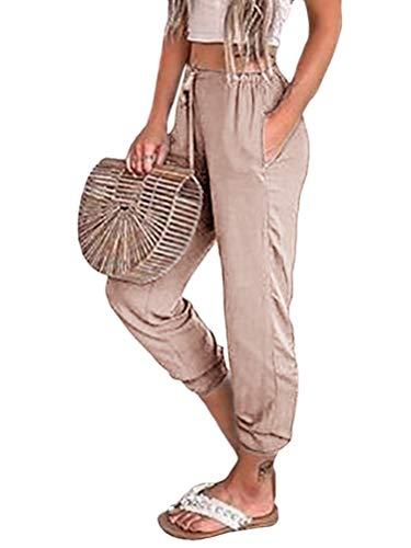 Onsoyours Damen Sommerhose Leichte Haremshose Loose Yogahose Bequemer Frauen Elegant Freizeithose Jogginghose Trousers Khaki Small