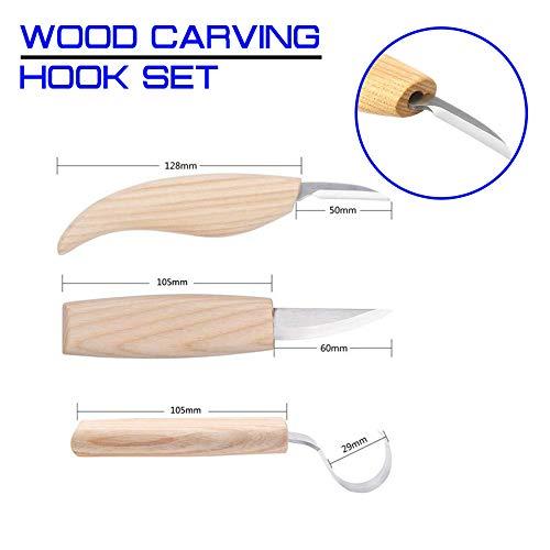 Juego de herramientas de mano de cincel de cuchillo de talla de madera de 3 piezas para cortador de carpintería Herramientas de carpintero de corte de enganche de alta resistencia