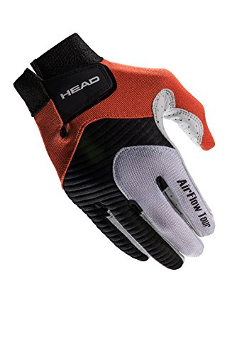 HEAD Leather Racquetball Glove - Airflow Tour Breathable Glove for Right & Left Hand - Black/Orange/White, Right - Large