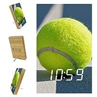 寝室用デジタル目覚まし時計キッチンオフィス3目覚まし設定ラジオ木製卓上時計-テニスボール