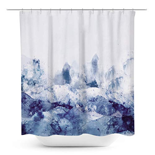 Coxila Abstract Watercolor Blue Shower Curtain Art Oil Painting 60 x 72 Inch Polyester Fabric Waterproof 12 Pack Plastic Hooks