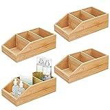 mDesign caisse de rangement en bambou en lot de 4 – grande boite en bois avec trois compartiments pour cosmétiques, maquillages et autres accessoires – organiseur pour la maison – couleur naturelle