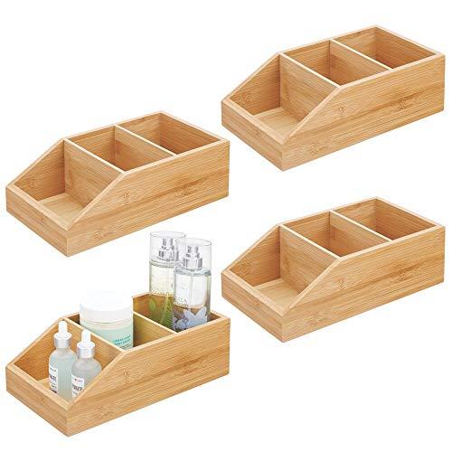 mDesign Juego de 4 cajas organizadoras con 3 compartimentos – Gran cajón de madera de bambú para cosméticos, maquillaje y otros accesorios – Clasificador ecológico para baño, cocina, etc. – natural ⭐