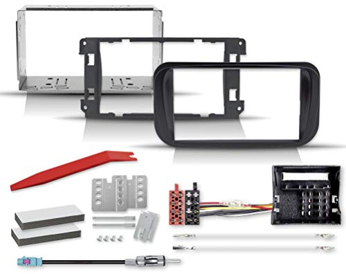 2-Din Profi-Einbauset mit Radioblende für ovale Ford-Autoradios, Radioadapter, Einbauschacht, Entriegelungsschlüssel für Focus, Mondeo, Galaxy, S-Max, Tourneo Connect, (Ovale-Profiblende)