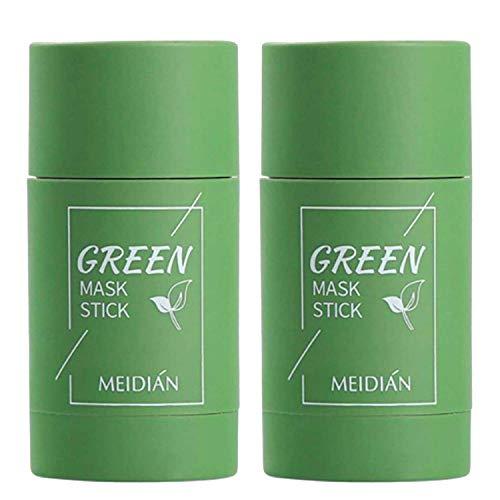 Baidi 2Pcs Green Tea Eggplant Purifying Clay Stick Mask, Green Tea Cleansing Mask for Blackheads Remeval Deep Cleansing Mask Deep Clean Pore Oil Control Anti-Acne for All Skin Types (Green Tea)