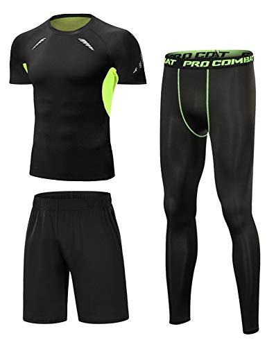 Sykooria Camiseta de Compresión Running Deportiva para Hombre Ropa Deportiva de Transpirable y Secado Rápido Correr Gym Ciclismo