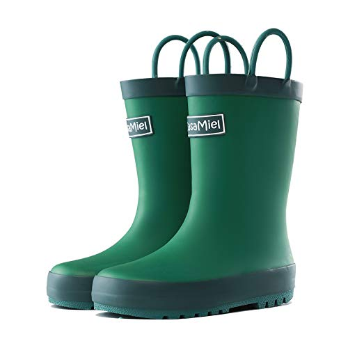 CasaMiel Toddler Rain Boots Boys Girls Kids Rain Boots for Toddler Boys, Kiddo Waterproof Natural Rubber Rain Boots for Babies and Bigger Kids Children Water Boots Botas para Niños Green