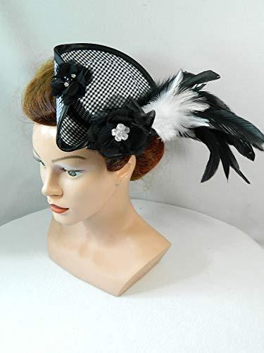 Mini Dreispitz schwarz weiß Marie Antoinette Barock Rokoko Western Headpiece Haarschmuck Dirndl Oktoberfest