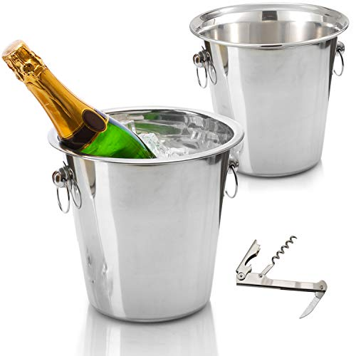 Tiger Chef Wine Bucket Set - Champagne Bucket - Beverage Tub Includes Two 4 Quart Stainless Steel Buckets and Bonus Corkscrew