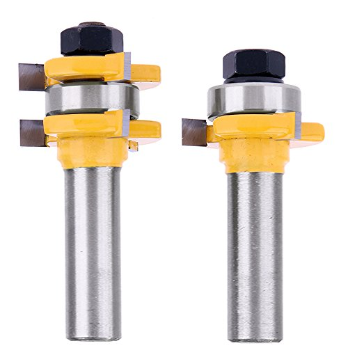 """Yakamoz 1/2 Inch Shank Tongue and Groove Router Bit Set 3/4"""" Stock 3 Teeth T Shape Wood Milling Cutter Woodworking Tool"""