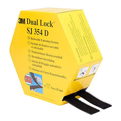 3M Sistema Di Fissaggio Richiudibile Dual Lock Sj354D - Ottima Adesione Su Materie Plastiche Come Polipropilene, Polietilene, Abs, Pvc (Rigido), Policarbonato - 2 X 25Mm X 5M, 5.7Mm (1 Pezzo)