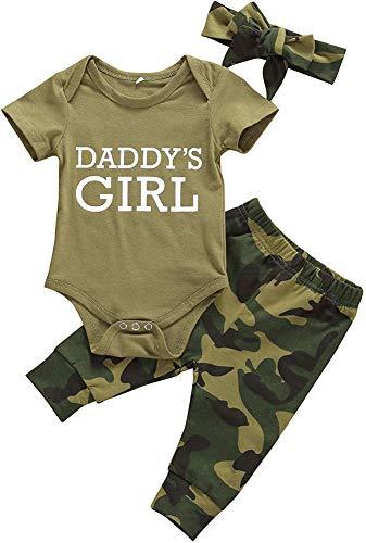 Geagodelia Babykleidung Set Baby Mädchen Strampler Kurzarm Body + Hosen Set Sommer Babyset Kleidung (Daddy's Girl Strampler, 0-3 Monate)